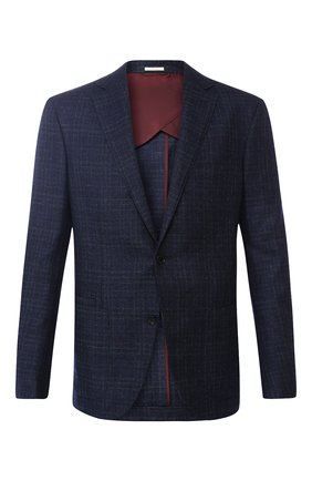 Однобортный пиджак из шерсти Luciano Barbera темно-синий | Фото №1