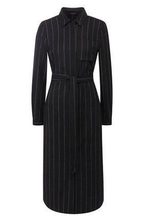 Шерстяное платье-рубашка с поясом | Фото №1