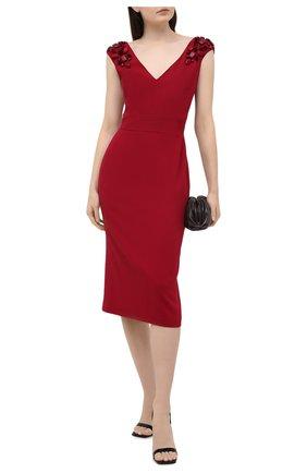 Шерстяное платье с V-образным вырезом Zuhair Murad красное | Фото №1