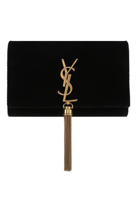 Сумка Monogram Kate small из бархата Saint Laurent черная цвета | Фото №1