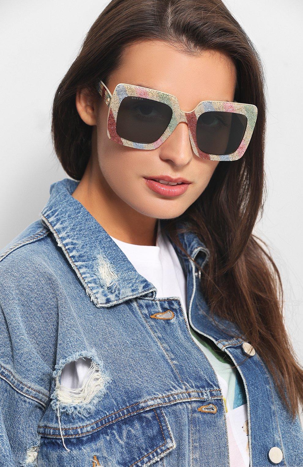 Женские солнцезащитные очки GUCCI разноцветного цвета, арт. GG0328 004 | Фото 2