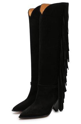 Замшевые сапоги с бахромой на фигурном каблуке Isabel Marant черные   Фото №1