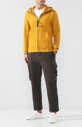 Хлопковая толстовка на молнии с капюшоном C.P. Company желтый | Фото №1