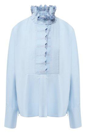 Однотонная хлопковая блуза с воротником-стойкой | Фото №1