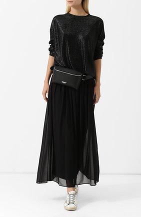 Однотонная юбка с эластичным поясом DKNY черная | Фото №1