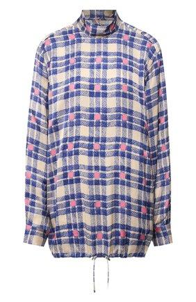 Блуза с принтом и воротником-стойкой | Фото №1