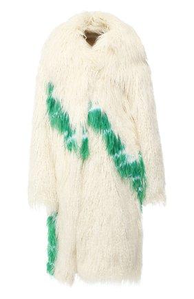 Пальто из эко-меха Dries Van Noten кремвого цвета | Фото №1