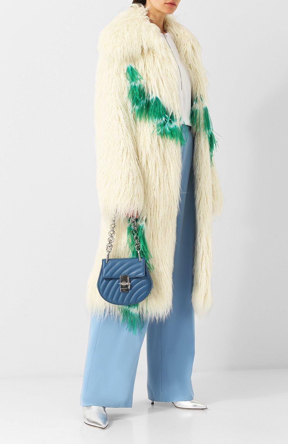Пальто из эко-меха Dries Van Noten кремвого цвета | Фото №2