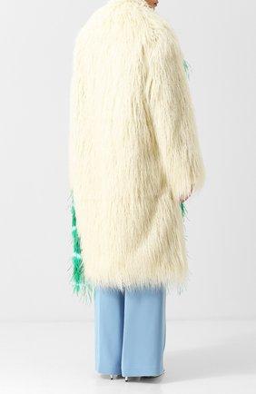 Пальто из эко-меха Dries Van Noten кремвого цвета | Фото №4