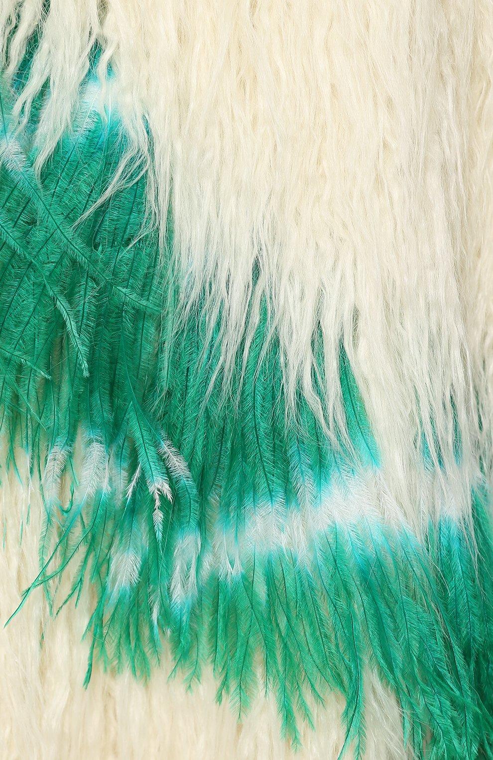 Пальто из эко-меха Dries Van Noten кремвого цвета | Фото №5