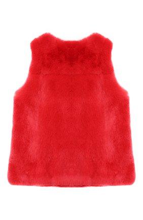 Меховой жилет Yves Salomon Enfant красного цвета | Фото №1
