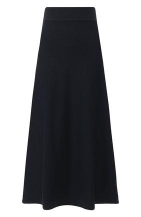 Однотонная юбка-миди из смеси шерсти и хлопка   Фото №1