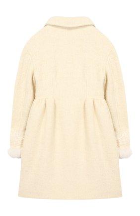Пальто из смеси шерсти и хлопка с защипами Ermanno Scervino белого цвета | Фото №1