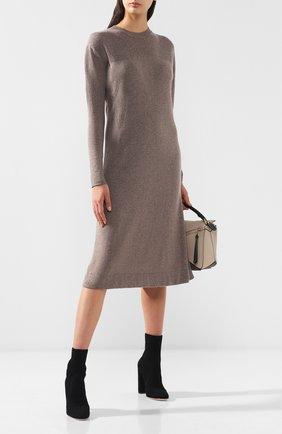 Вязаное платье-миди с круглым вырезом Tak.Ori бежевое | Фото №1