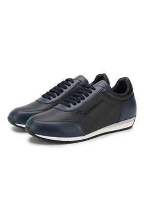 Кожаные кроссовки на шнуровке с отделкой из кожи аллигатора   Фото №1