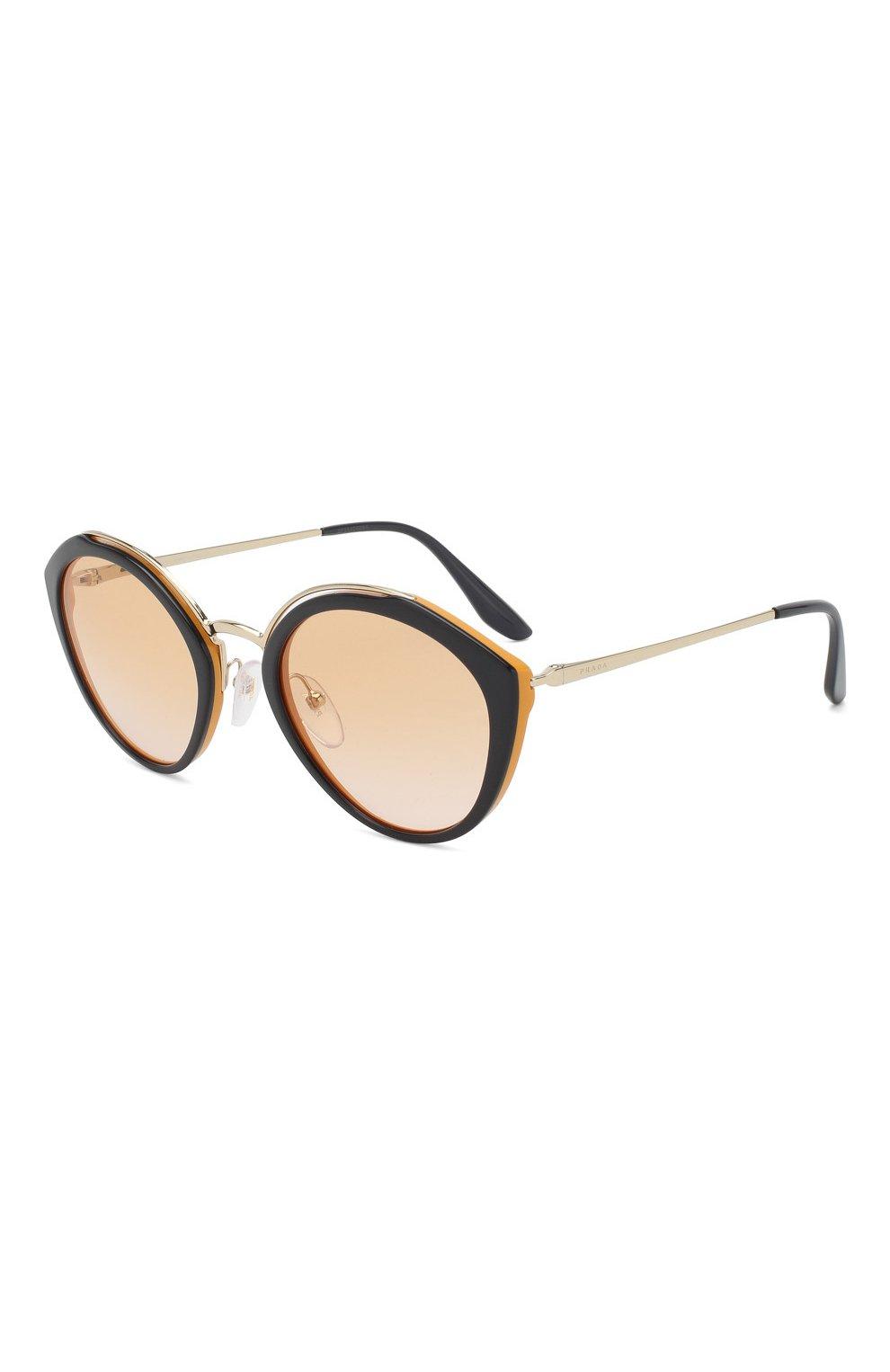 Женские солнцезащитные очки PRADA черного цвета, арт. 18US-WU0232 | Фото 1