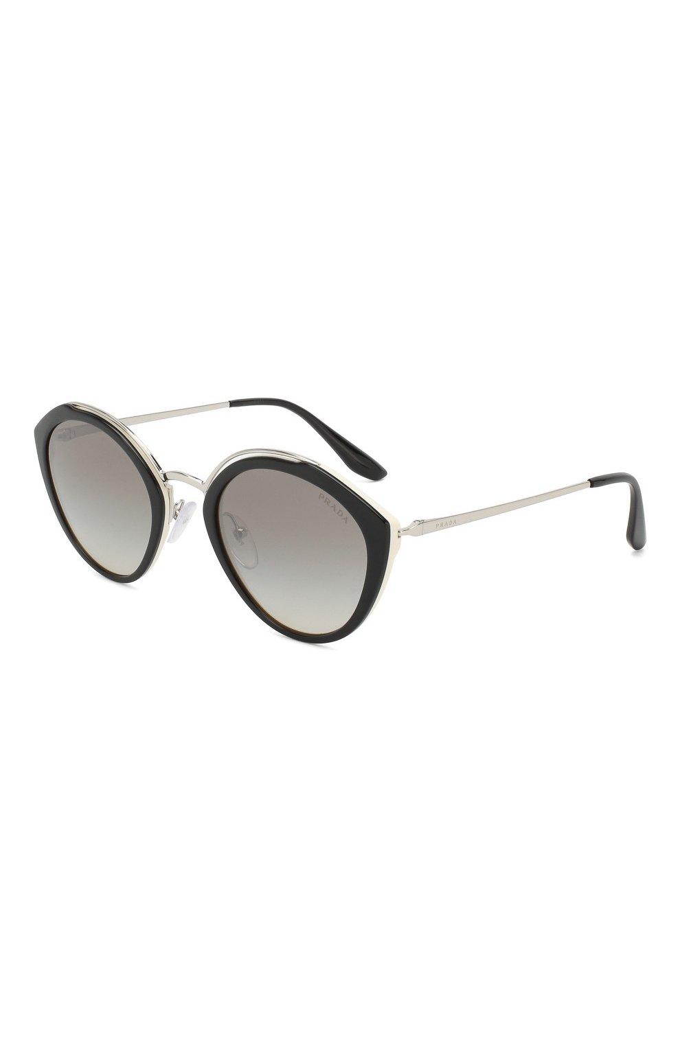96d303b527bc Женские черно-белые солнцезащитные очки PRADA — купить за 20900 руб ...