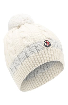 Детского кашемировая шапка MONCLER ENFANT белого цвета, арт. D2-954-99217-05-999DY | Фото 1