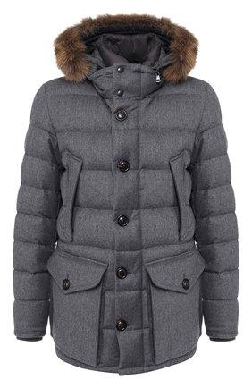 Пуховая куртка Rethe на молнии с меховой отделкой капюшона | Фото №1