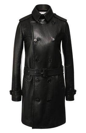 Двубортное кожаное пальто с поясом | Фото №1