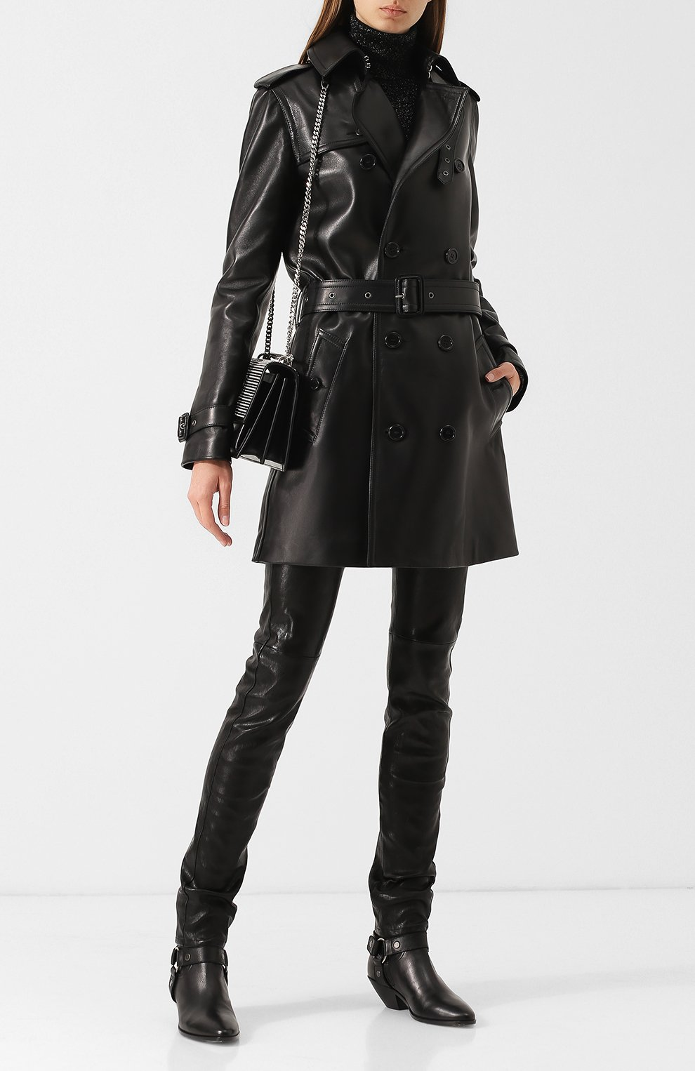Двубортное кожаное пальто с поясом | Фото №2