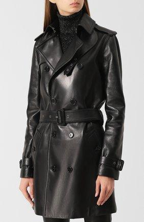 Двубортное кожаное пальто с поясом | Фото №3