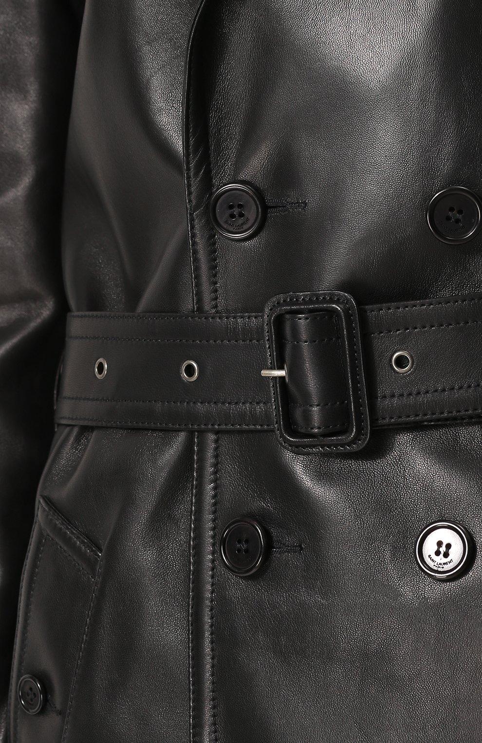 Двубортное кожаное пальто с поясом | Фото №5