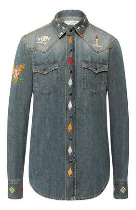 Джинсовая блуза с вышитым принтом | Фото №1