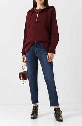 Хлопковый пуловер с капюшоном See by Chloé бордовый   Фото №1