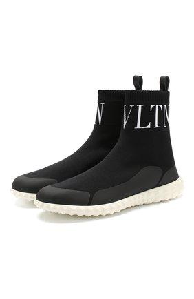 Высокие текстильные кроссовки Valentino Garavani VLTN на шнуровке   Фото №1