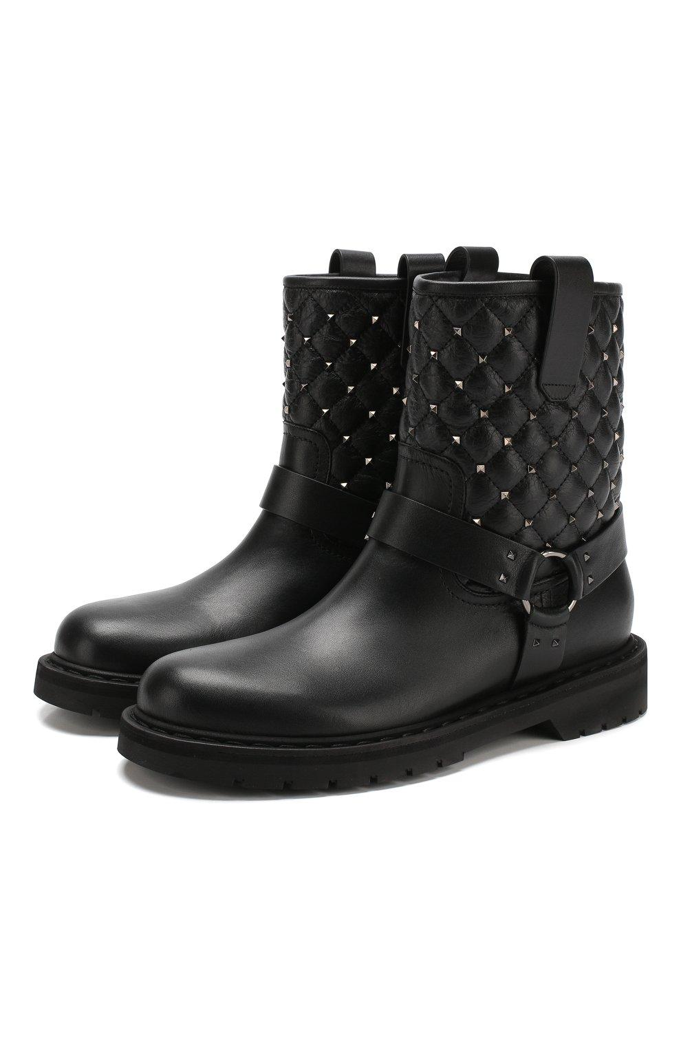 59fff536a4c9 Высокие кожаные ботинки Valentino Garavani Rockstud Spike   Фото №1