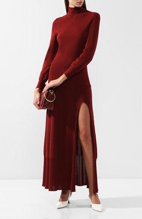 Хлопковое платье с воротником-стойкой Jacquemus красное   Фото №1