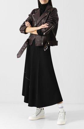 Высокие кожаные кеды с текстильной вставкой Giuseppe Zanotti Design белые | Фото №1