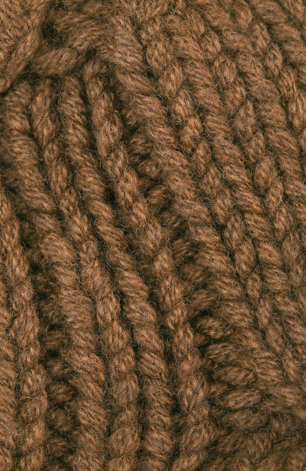 Женская кашемировая шапка с меховым помпоном LORO PIANA коричневого цвета, арт. FAI3738 | Фото 3