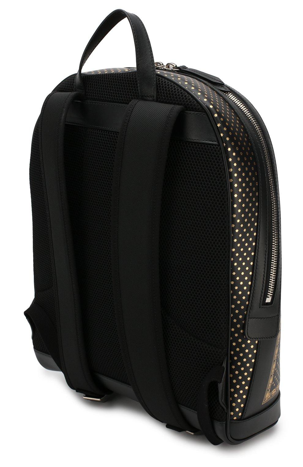Кожаный рюкзак Guccy с декоративной отделкой Gucci черный  bc669849daafa