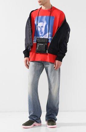 Мужская кожаная сумка explorer с логотипом бренда BALENCIAGA черного цвета, арт. 532298/DB505 | Фото 2