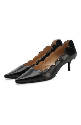 Кожаные туфли Pointy Lauren на каблуке kitten heel Chloé черные   Фото №1