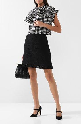 Вязаная юбка из смеси шерсти и хлопка с шелком Dolce & Gabbana черная   Фото №1