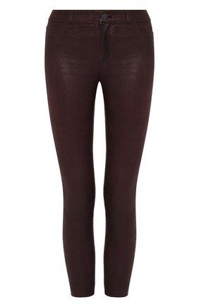 Укороченные кожаные брюки-скинни Paige бордовые | Фото №1
