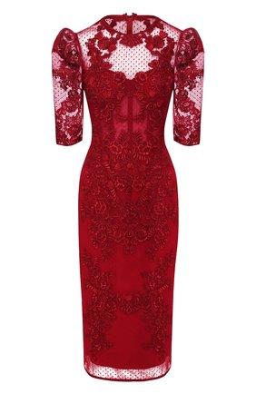 Приталенное платье с кружевной отделкой Zuhair Murad красное | Фото №1