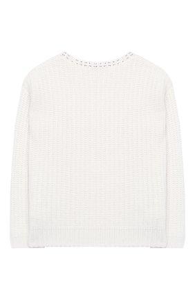 Детский пуловер фактурной вязки со стразами Ermanno Scervino белого цвета | Фото №1