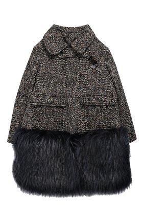 Пальто из смеси хлопка и шерсти с фактурной отделкой Ermanno Scervino разноцветного цвета | Фото №1