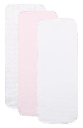 Хлопковый комплект из трех пеленок Kissy Kissy розового цвета   Фото №1