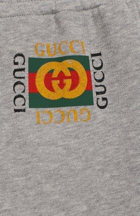 Детские хлопковые джоггеры с логотипом бренда GUCCI серого цвета, арт. 503867/X3L00   Фото 3