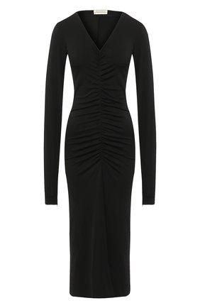 Однотонное платье с драпировкой и V-образным вырезом By Malene Birger черное   Фото №1