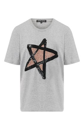 Хлопковая футболка с декоративной отделкой Markus Lupfer серая | Фото №1