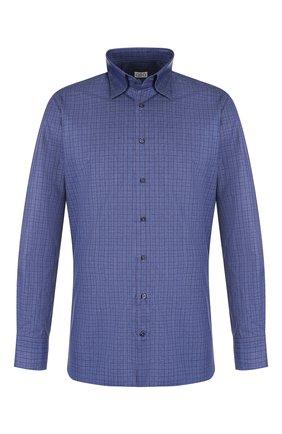 Мужская хлопковая рубашка с воротником кент ZILLI синего цвета, арт. MFQ-10301-01088/RZ01 | Фото 1