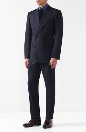 Мужская хлопковая рубашка с воротником кент ZILLI синего цвета, арт. MFQ-10301-01088/RZ01 | Фото 2