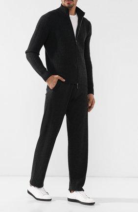 Шерстяные брюки прямого кроя с поясом на кулиске Cruciani серые | Фото №1