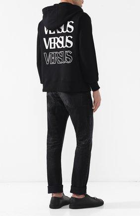 Хлопковая толстовка на молнии с капюшоном и принтом Versus Versace черный   Фото №1